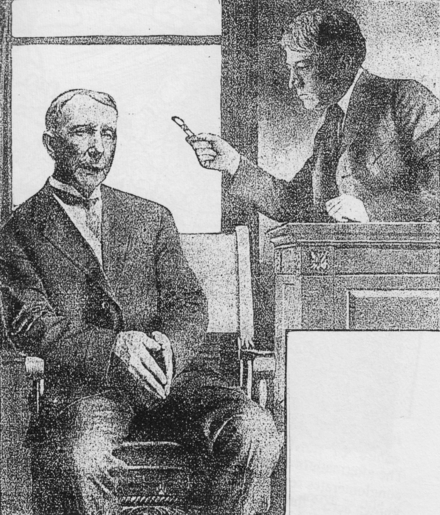 Judge Kenesaw Mountain Landis wags his pen at John D. Rockefeller, who is sitting in the witness stand, during the Standard Oil case on July 6, 1907 Landis Rockefeller 1.png
