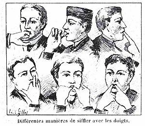 Whistling - Various finger techniques (Le Monde illustré  14 January 1893)