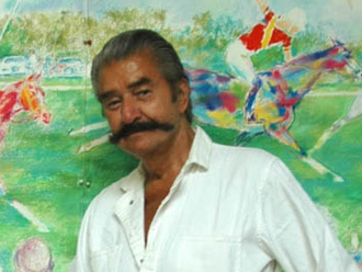 LeRoy Neiman - Neiman in front of the mural he created for the Triple Crown of Polo