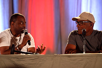 The Sword of Kahless - The episode was the first to feature Michael Dorn's (right) character centrally, and was directed by LeVar Burton (left).