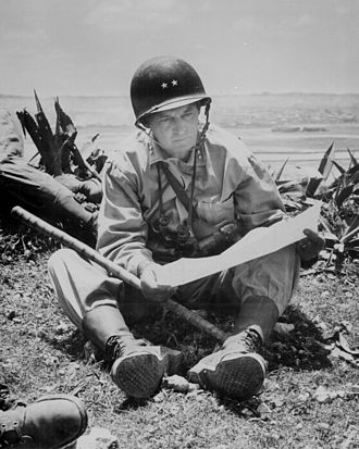 Lemuel C. Shepherd Jr. - MajGen Shepherd surveys a map after the Battle of Okinawa