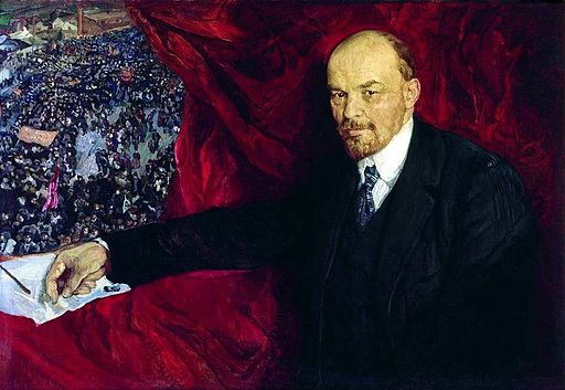Lenin and manifistation by Isaak Brodsky (1919, GIM)