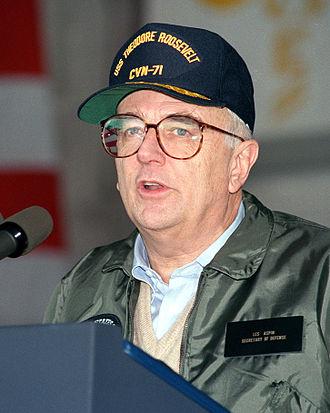 Les Aspin - Speaking aboard USS Roosevelt in 1993