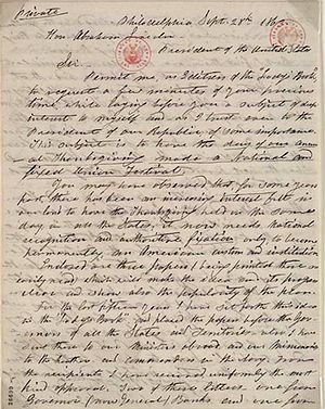 Sarah Josepha Hale - 1863 letter from Hale to Lincoln discussing Thanksgiving