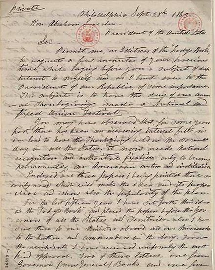 1863 letter from Sarah Josepha Hale to President Abraham Lincoln discussing the creation of a Thanksgiving holiday Letter-SarahHaletoLincoln.jpg