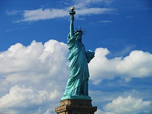 France–United States relations - The Statue of Liberty is a gift from the French people to the American people in memory of the United States Declaration of Independence.