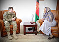 Lieutenant Gen. William B. Caldwell, NATO Training Mission Afghanistan commander, left, speaks with Bamyan Provincial Gov. Dr. Habiba Sarabi.jpg