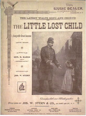 1894 in music - The Little Lost Child sheet music cover