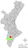 Localización de Petrer respecto a la Comunidad Valenciana