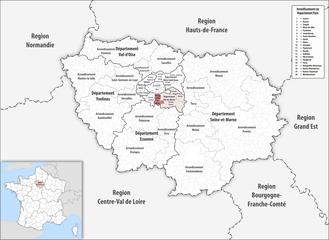 Arrondissement of L'Haÿ-les-Roses - Image: Locator map of Arrondissement L'Haÿ les Roses