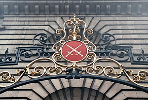 St Mary Woolnoth - Coat of arms of the Diocese of London at the gate of the church