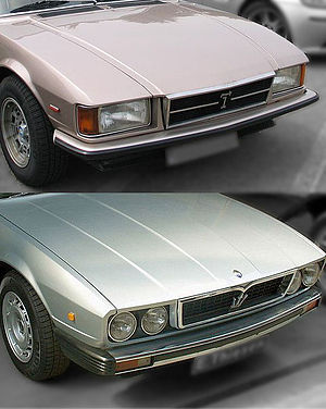 Maserati Kyalami - Comparison between the front end of the De Tomaso Longchamp (top) and Maserati Kyalami (bottom).