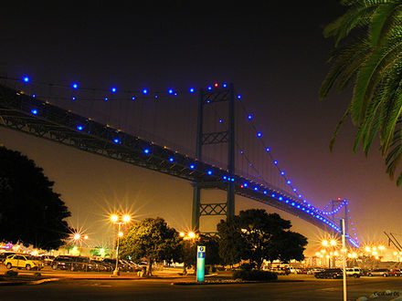 Los Angeles Vincent Thomas Bridge illuminated with blue LEDs Los Angeles Bridge.jpg