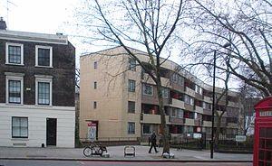 Spa Green Estate - Sadler House from Rosebery Avenue