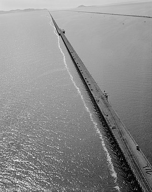Promontory, Utah - Aerial view of the trestle over the northern part of the Great Salt Lake west of Ogden in Box Elder County, Utah in August 1972. The replacement causeway is to the right.
