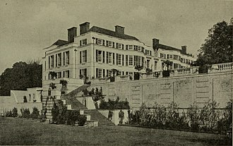Nashdom - View from south, 1921, showing the retaining wall and stairway