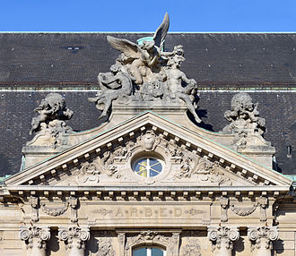 ARBED building - Image: Luxembourg City ARBED building pediment