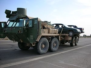 Logistics Vehicle System - LVS Flatbed variant (MK48/14) with MAK armor kit and ring-mount weapons turret
