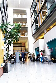 Atrium of MBS East situated on the corner of Booth Street West and Oxford Road. It is the home to the Undergraduate Services and some of the Research Centres.