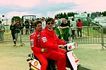MIchael Andretti in the paddock before the 1993 British Grand Prix (33557348031).jpg