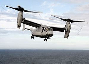 Disk loading - The MV-22 Osprey tiltrotor has a relatively high disk loading, producing visible blade tip vortices from condensation of the marine air in this photo of a vertical takeoff.