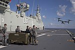 MV-22B Osprey tiltrotor aircraft takes off from the flight deck of HMAS Adelaide in 2017.jpg