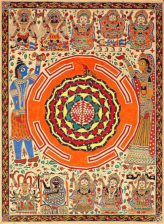 Tantra - Sri Yantra diagram with the Ten Mahavidyas. The triangles represent Shiva and Shakti, the snake represents Spanda and Kundalini.