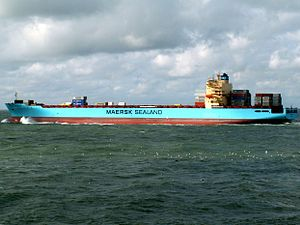 Maersk Detroit p3, leaving Port of Rotterdam, Holland 10-Aug-2005.jpg