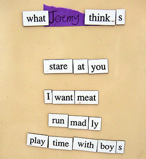 A poem made by Magnetic Poetry pieces. This po...