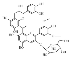 Chemical structure of malvidin glucoside-ethyl-catechin