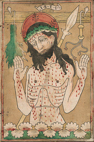 Man of Sorrows - German woodcut with hand-colouring, 1465-70