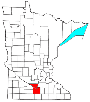 Mankato – North Mankato metropolitan area - Location of the Mankato-North Mankato Metropolitan Statistical Area in Minnesota