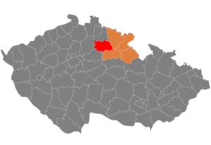District location in the Hradec Králové Region within the Czech Republic