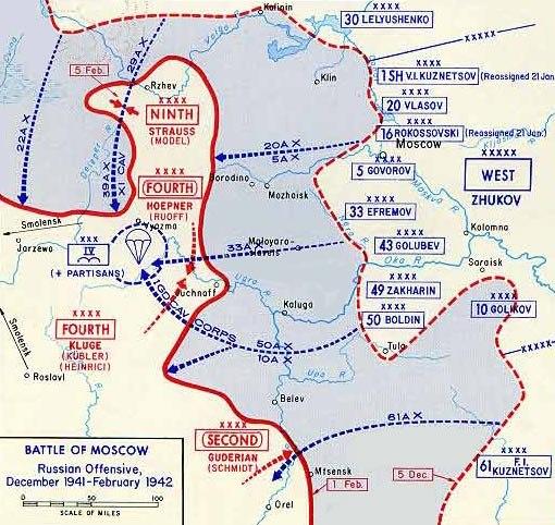 Map Soviet 1941 Winter counteroffensive (detail)