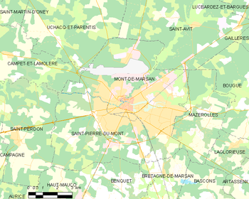 Map of the commune of Mont-de-Marsan