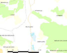 Mapa obce Peuvillers