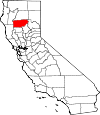 State map highlighting Tehama County