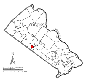 Map of Chalfont, Bucks County, Pennsylvania Highlighted.png