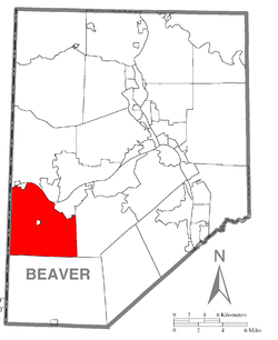 Map of Beaver County, Pennsylvania highlighting Greene Township