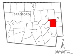 Map of Bradford County with Herrick Township highlighted
