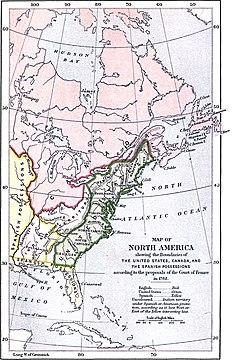 MAPA de la propuesta francesa en el Acuerdo de paz estadounidense para limitar el territorio estadounidense a los Apalaches.