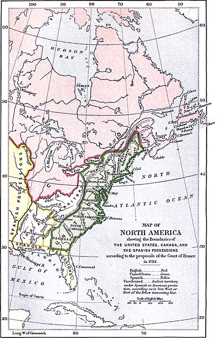 The 1782 French proposal for the territorial division of North America, which was rejected by the Americans Map of North America, 1782 (Life of William, Earl of Shelburne) (edited).jpg