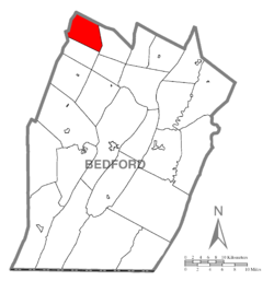 Map of Bedford County, Pennsylvania highlighting Pavia Township