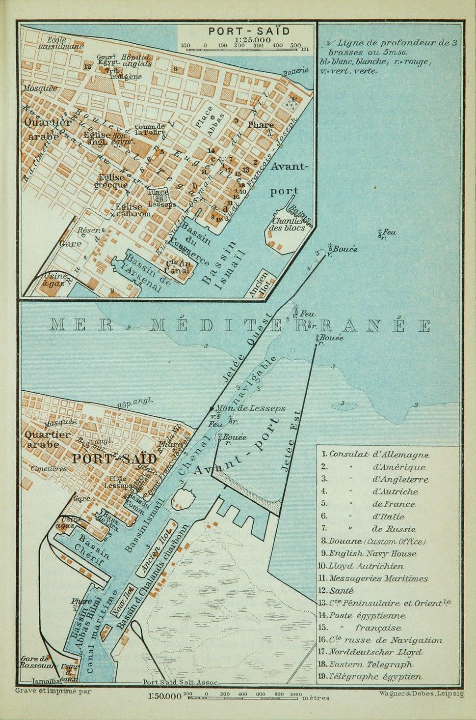 Map of Port Said (Baedeker, 1914)