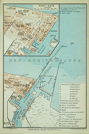 Map of Port Said (Baedeker, 1914)