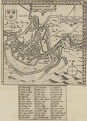 Shrewsbury - Map of Shrewsbury town from Pennant's A tour in Wales, 1778