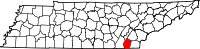 Map of Tennessee highlighting Bradley County