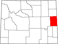 Locatie van Niobrara County in Wyoming