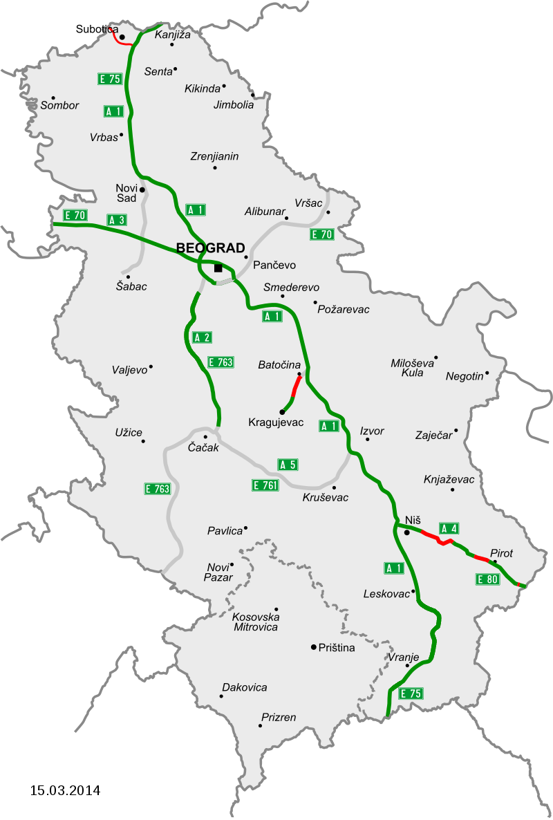Map of motorways in Serbia