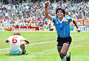 "Terry Butcher - Butcher (left; wearing No.6) is dejected as Diego Maradona celebrates his second goal (considered ""the best goal in World Cup history"") during the 1986 World Cup"